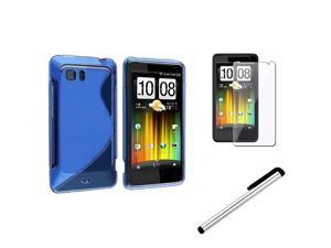 Insten Blue S Shape Wave TPU Gel Skin Case Cover + LCD + Stylus Pen For HTC Holiday Vivid