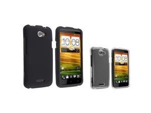 Insten Black + Clear 2in1 Rubberized Hard Case Cover Accessory For AT&T HTC One X XL