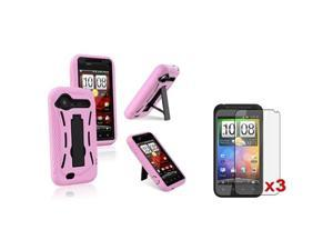 Insten Black Hard/Pink Skin Skin Phone Case + 3pcs Clear SP For HTC Droid Incredible 2 S
