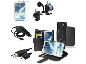 Insten Leather Case Card Holder + Matte LCD + Charger + Mount For Samsung Galaxy Note 2 N7100
