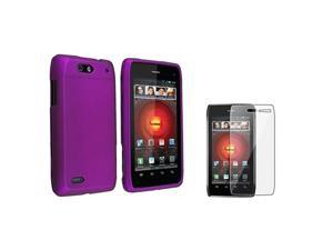 Insten Purple Rubberized Hard Case Cover + LCD Guard For Motorola Droid 4