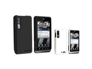 Insten Black + White Snap-on Rubber Hard Case Cover Phone For Motorola Droid 3 XT862