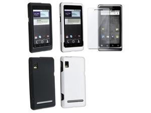 Insten For Motorola Droid 2 Global White + Black Rubber Hard Cover Case + LCD Protector