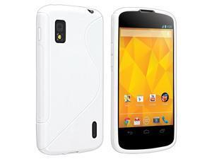 Insten TPU Rubber Skin Case Compatible with LG Nexus 4 E960, White S Shape