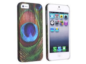 Insten Peacock Feathers Rear Hard Case + 3D Diamond Blink Screen Protector Compatible with Apple iPhone 5