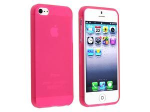 Insten Pure Hot Pink Ultra Thin Rubber Gel Case + Silver Stylus Compatible with Apple iPhone 5G 5