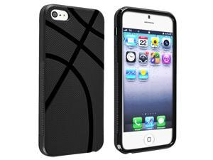 Insten Black Basketball Lover Veins TPU Cool Case + LCD Film + Stylus Compatible with Apple iPhone 5
