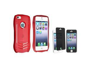Insten Red Lamborghini TPU Rubber Case + Privacy Screen Cover compatible with Apple iPhone 5