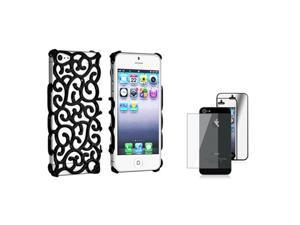 Insten Black Palace Flower Chrome Hard plastic Case + 2 LCD Kit Mirror Screen Protector compatible with Apple iPhone 5