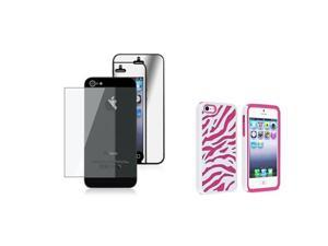 Insten Hot Pink / White Zebra Silicone / Hard plastic Case + 2 LCD Kit Mirror Screen Protector compatible with Apple iPhone ...