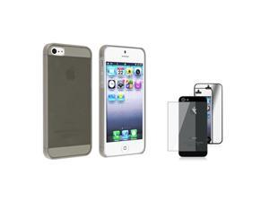 Insten Clear Smoke Clip-on Slim Case + 2 LCD Kit Mirror Screen Protector Compatible With Apple iPhone 5 / 5s 831824