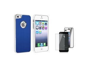 Insten Blue Brushed Chrome Aluminum Rear Snap-on Case + 2 LCD Kit Mirror Screen Protector compatible with Apple iPhone 5