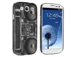Insten Black Radio Recorder Rubber Coated Case Cover + Privacy Screen Protector compatible with Samsung Galaxy SIII / S3