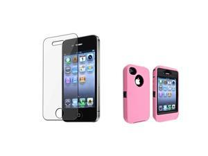 Insten Black Hard/ Pink Skin Hybrid Case + Reusable Screen Protector Compatible with Apple iPhone 4 / 4S
