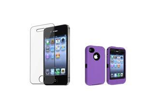 Insten Black Hard/ Purple Skin Hybrid Case + Reusable Screen Protector Compatible with Apple iPhone 4 / 4S