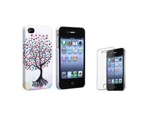 Insten Romantic Cute Colorful Love Tree Hearts Rubber Case + Reusable Screen Protector Compatible with Apple iPhone 4 / 4S