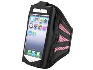 Insten Black/ Pink ArmBand + Reusable Screen Protector Compatible with Apple iPhone 5