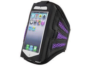 Insten Black / Purple ArmBand + Reusable Screen Protector Compatible with Apple iPhone 5