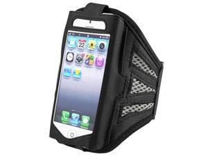 Insten Black / Silver ArmBand + Reusable Screen Protector Compatible with Apple iPhone 5
