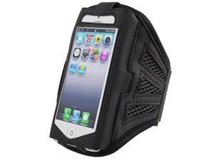 Insten Black / Black ArmBand + Reusable Screen Protector Compatible with Apple iPhone 5