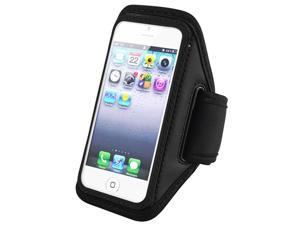 Insten Black ArmBand + Reusable Screen Protector Compatible with Apple iPhone 5