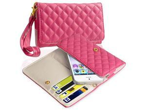 Insten Hot Pink Leather Cell Phone Wallet Case for Apple iPhone 5 / 5C / 5S 942457