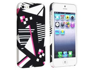 Insten Geometric Rear Snap-on Rubber Coated Case Cover + 3D Diamond Blink Screen Protector for Apple iPhone 5