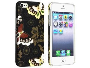 Insten Flower Rear Style 52 Snap-on Rubber Coated Case Cover + 3D Diamond Blink Screen Protector for Apple iPhone 5