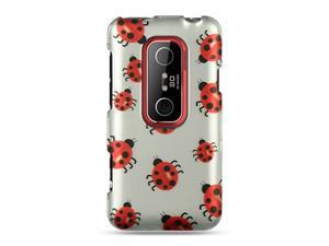 HTC EVO 3D Silver Ladybug Design Crystal Rubberized Case