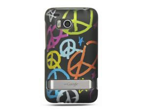 HTC Thunderbolt/HTC Incredible HD/HTC 6400 Black with Handmade Peace Sign Design Crystal Rubberized Case