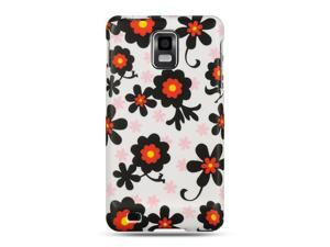 Samsung Infuse 4G I997 White with Black Daisy Design Crystal Rubberized Case
