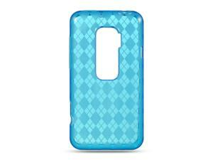 HTC EVO 3D Blue Checker Design Crystal Skin