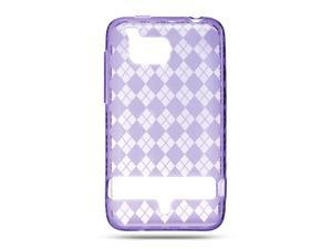 HTC Thunderbolt/HTC Incredible HD/HTC 6400 Purple Checker Design Crystal Skin