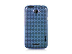 HTC One X Blue Checker Design Crystal Skin