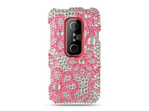 HTC EVO 3D Hot Pink Lace Design Full Diamond Case