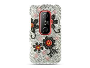 HTC EVO 3D Silver with Black Daisy Design Full Diamond Case