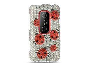 HTC EVO 3D Silver Ladybug Design Full Diamond Case