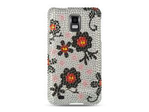 Samsung Infuse 4G I997 Silver with Black Daisy Design Full Diamond Case