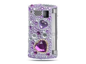 Sanyo 6760 Purple Heart Design Full Diamond Case