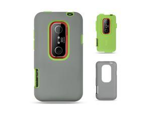 HTC EVO 3D Green Skin with Dar Gray Rubber High-End 2-in-1 Hybrid Case