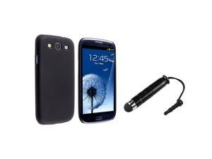 Insten Black Slim Snap on Case + Stylus Pen Compatible With Samsung Galaxy SIII / S3