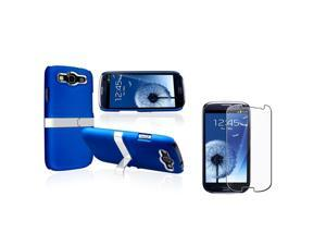 Insten Blue/ Silver Snap-on Rubber Coated Case with Stand + Reusable Screen Protector compatible with Samsung Galaxy SIII ...