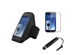 Insten Black Armband Case + LCD Cover + Stylus Pen compatible with Samsung Galaxy SIII / S3
