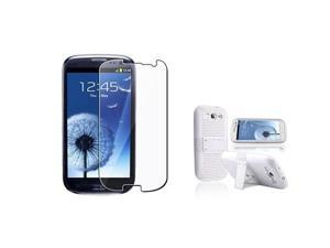 Insten white/white Meshed Hybrid Case + Reusable Screen Protector compatible with Samsung Galaxy SIII / S3