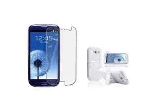 Insten white/white Meshed Hybrid Case + Anti-Glare LCD Cover compatible with Samsung Galaxy SIII / S3