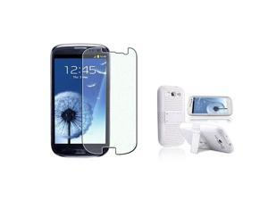 Insten white/white Meshed Hybrid Case + Privacy Screen Cover compatible with Samsung Galaxy SIII / S3