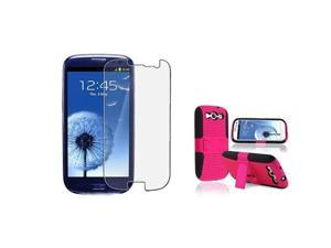 Insten black/hot pink Meshed Hybrid Case + Anti-Glare LCD Cover compatible with Samsung Galaxy SIII / S3