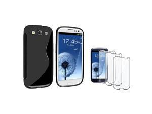 Insten Black S Shape TPU Rubber Case + 3-piece Screen Protector compatible with Samsung Galaxy SIII / S3