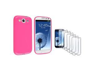 Insten Hot Pink jelly TPU Rubber Case + 6-piece Screen Protector compatible with Samsung Galaxy SIII / S3