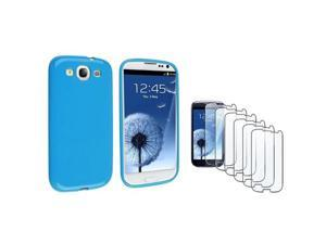 Insten Blue jelly TPU Rubber Case + 6-piece Screen Protector compatible with Samsung Galaxy SIII / S3